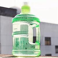 大容量プラスチックスポーツ飲料ボトル学生ウォーターボトルプラスチックキャリングハンドルバケットハンディケトル1000ミリリットル-緑