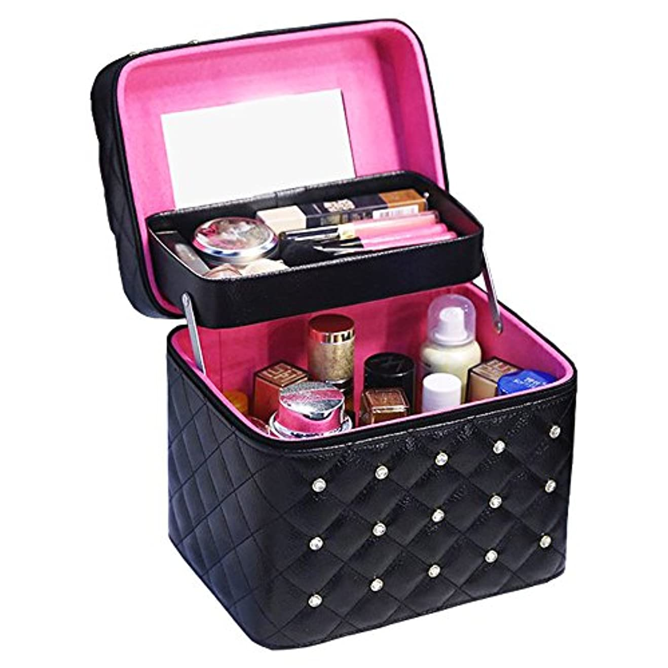 動かない感覚障害者Twinkle goods (ツインクルグッズ) メイクボックス コスメボックス 化粧品 収納 PUレザー お洒落なデザイン メイク道具をすっきり収納 携帯にも 2段タイプ