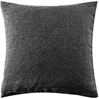 U'Artlines クッションカバー 枕カバー 綿麻 正方形 装飾枕ケース シンプル 雰囲気 部屋飾り (ダーク グレー)