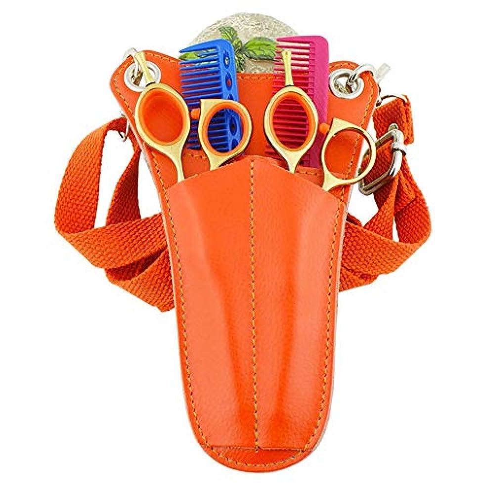 落花生サーフィン警官トライアングルミニポケットバッグ理容はさみ櫛ホルスターポーチレザーサロンツールウエストバッグ ヘアケア (色 : オレンジ)