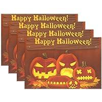 AOMOKI ランチョンマット ブランドランナー テーブル 食卓 断熱 防汚 滑り止め 丸洗い レストラン用 飾り 30x45cm Happy Halloween ハロウィン 1枚 4枚セット 6枚セット
