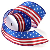 Morex Ribbon Stars and Stripes Wired Satin Ribbon Spool, 2-1/2-Inch by 3-Yard, Red/White/Blue by Morex Ribbon