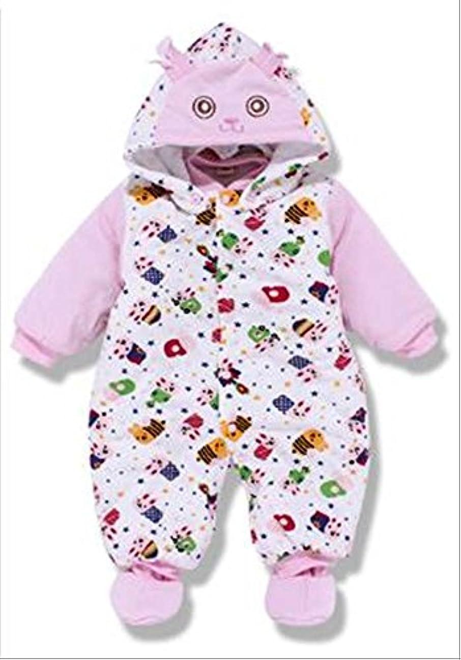 列挙する小道コミットメント赤ちゃん 動物柄 可愛い ベビー服 もこもこ 暖かい 男の子 女の子 (65cm, ピンク)