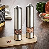 Premium Electric Salt and Pepper Grinder Set - Automatic, Refillable, Battery Operated Stainless Steel Spice Mills with Light