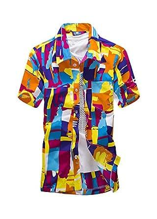 (ワイ-ミー)Y-ME 半袖シャツ ビーチシャツ アロハシャツ おしゃれ 旅行 カップルシャツ ST16 orange M