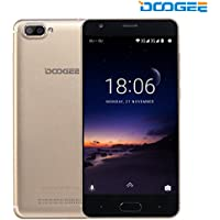 SIMフリースマートフォン, DOOGEE X20(Android 7.0 デュアル SIMフリー 5.0インチ 3G(au不可) 16GB ROM Micro+Nano SIM)スマートフォン本体 ゴールド (一年保証)