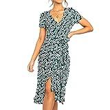 女性のためのドレス夏の短いサンドレスカジュアルフラッタードレス電気祭り、休暇のビーチやその他の特別な行事のための深いVネックストラップ。,2XL