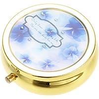 アクセサリーショップピエナ フラワー柄 携帯用アクセサリーケース ミラー付き レディース 水彩画 花 小物入れ ブルー