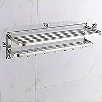 304ステンレススチールタオルラック、壁掛けのバスルームタオルホルダーシェルフラック(フックデザイン付き) /バスルーム (サイズ さいず : 78センチメートル)