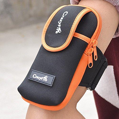 スポーツアームバッグ CrazrFire アームバンド 防水 収納可能 アウトドア用品 アームポーチ  (アームバンド, オレンジ)