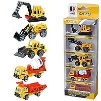Fashionwu ミニカー 5台セット 建設工事作業車両 はたらく車 くるまおもちゃ モデルカー 建設現場コレクション