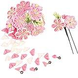 (キョウエツ) KYOETSU成人式 卒業式 花 髪飾り 2点セット つまみ細工 和装 かんざし 7w8200 (ピンク)