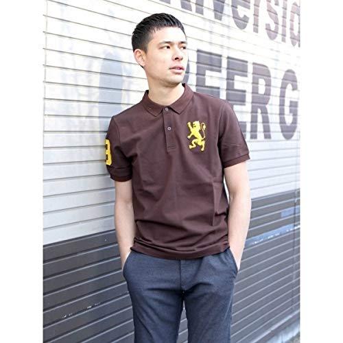 ジョルダーノ(メンズ)(GIORDANO) ジョルダーノ(ライクラ素材【ストレッチ抜群】3Dライオン刺繍ポロシャツ)【ブラウン/L】