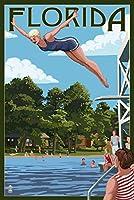 フロリダ州–Womanダイビングと湖 16 x 24 Signed Art Print LANT-68750-709