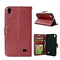 JINXIUJP 携帯電話ケース、 ソリッドカラープレミアムPUレザーウォレット磁気バックルデザインカードスロットをフォリオ保護ケースカバーフリップ/ Huawei社アセンドG620s用スタンド (色 : 褐色)