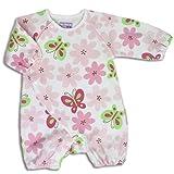 【フィットオール】北欧 花 ちょうちょ カバーオール 60cm - 70cm ベビー ピンク 長袖