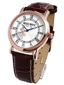 Disney ディズニー ノーブル ミッキー 腕時計 ブラウンベルト×ホワイト文字盤 本牛革 クロコ型押しベルト スワロ【並行輸入品】