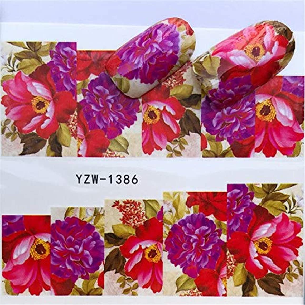 政治家の敬の念有名SUKTI&XIAO ネイルステッカー 1シートカラフルな水彩花Parttenネイルスライダーアート水転写ステッカーネイルアート装飾デカールマニキュア
