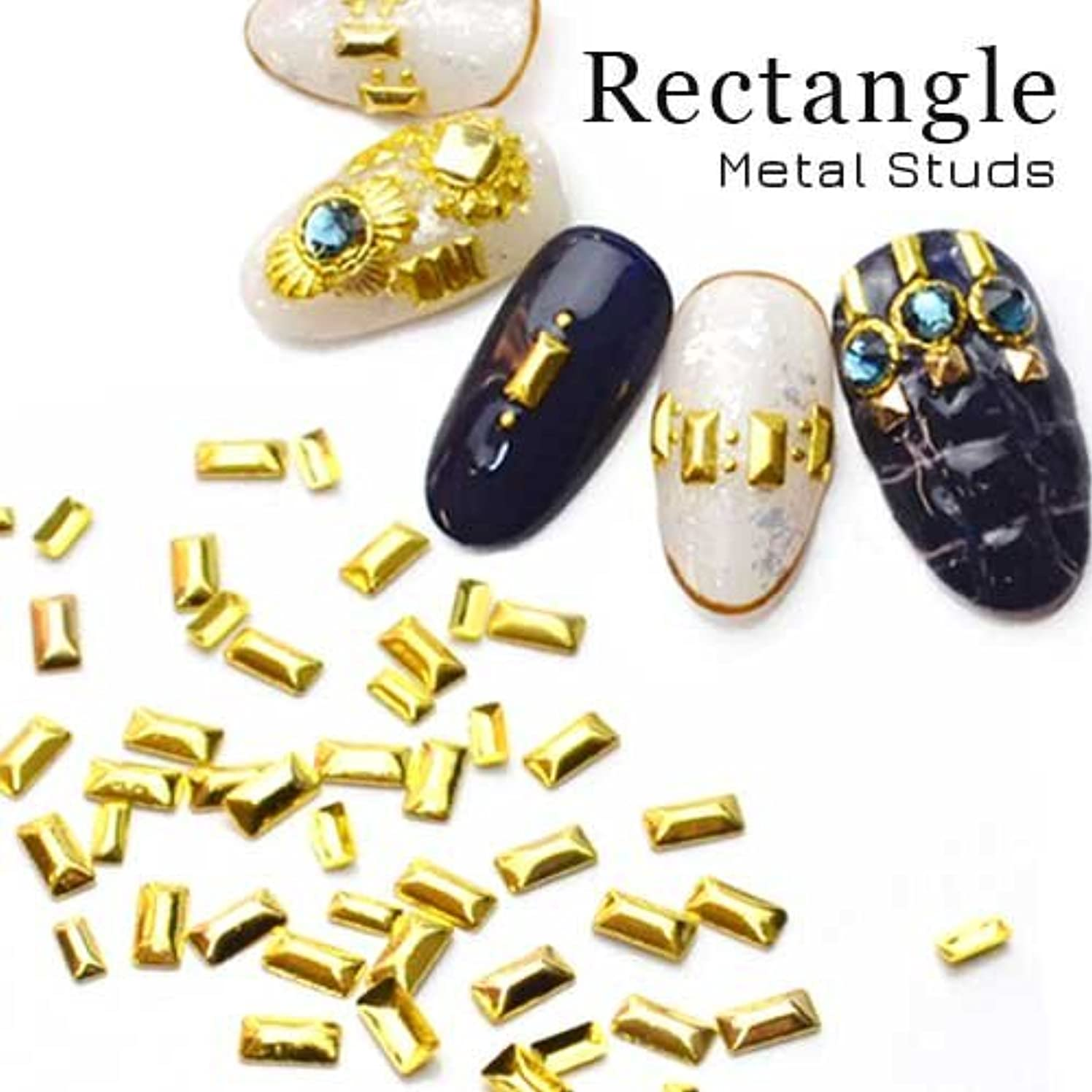 閉じ込めるエキゾチックメロンレクタングルメタルスタッズ[Sゴールド]約30粒入 ピラミッド メタルパーツ ジェルネイル