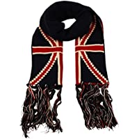 Itzu Unisex Union Jack Knit Neck Scarf with Fringe British in Navy Red Cream