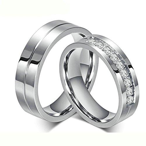 [해외]Aooaz 2 x 결혼 반지 &  각인 가능 6MM 실버 반지 그와 그녀를 위해 스테인레스 반지/Aooaz 2 x Engagement ring &  engraveable 6 MM silver ring Stainless steel ring for him and her