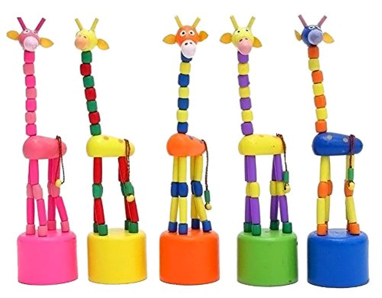 rosesummer 1pcsベビーキッズ木製玩具Developmental Dancing Standing Giraffeギフトおもちゃ(ランダム)