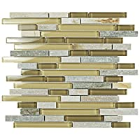 SomerTile GDMTPNS Sierra Piano Suffolk Glass and Stone Mosaic Wall Tile, 11.75 x 11.75, Beige/Brown, Pack of 5 by SOMERTILE
