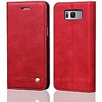 MaiJin サムスン Samsung Galaxy S8 レザーケース 手帳型 カード 磁気保護 スタンド機能 ウォレットケース 本革 財布型 保護カバー (赤)