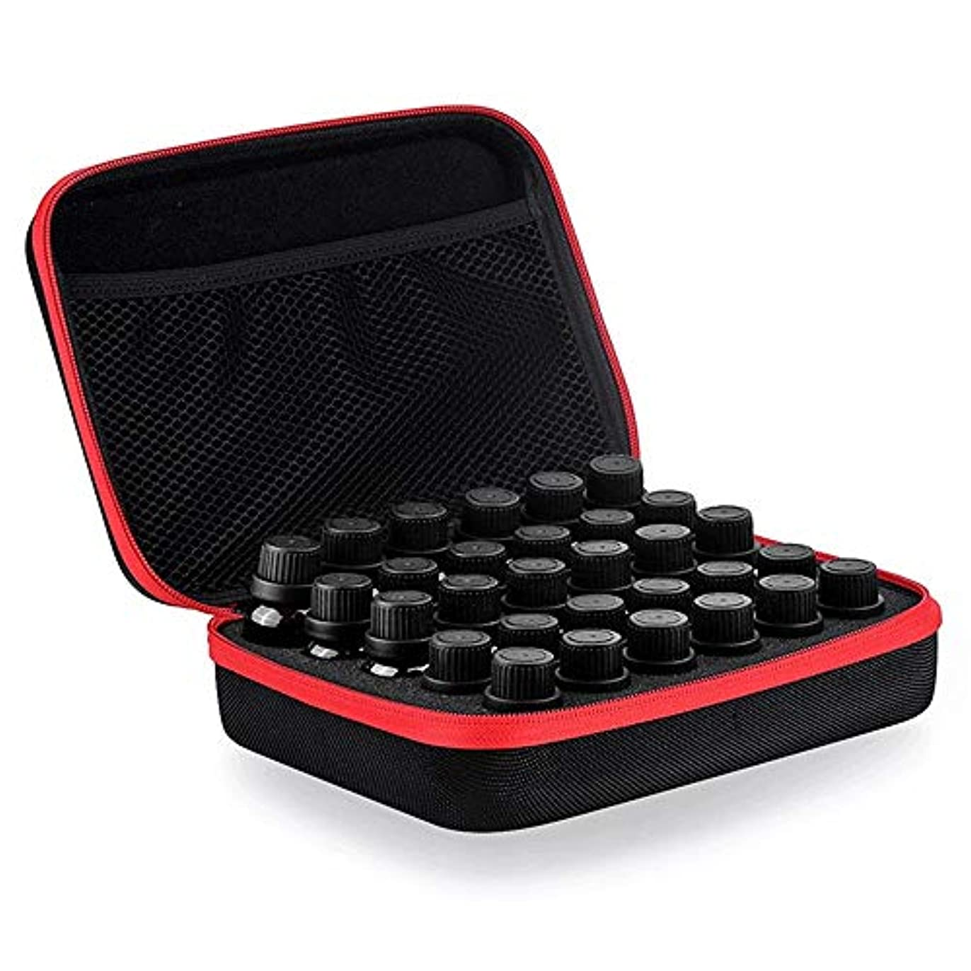 再び特に磁石アロマセラピー収納ボックス 5ミリリットルを取るためにスーツケースに保持された油の30種類、10ミリリットル15ミリリットルボトル外観EVAハードシェル石油貯蔵バッグハンドルOrganzier完璧なディスプレイケース油 エッセンシャルオイル収納ボックス (色 : ブラック, サイズ : 22X17X7.2CM)