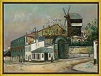 Maurice Utrillo フレーム ジクレー キャンバスに印刷 -有名な絵画 美術品 ポスター-再生 壁の装飾 ハングする準備ができて(ムーランドゥラガレットモンマルトル) #XLK