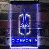 Oldsmobile LED看板 ネオンサイン バーライト 電飾 ビールバー 広告用標識 ホワイト+ブルー W20cm x H30cm