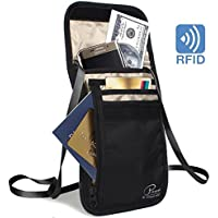 YellowPrice 2018 New RFID Blocking Travel Wallet Passport Holder Covers Neck Stash Pouch Waterproof Document Organizer Case[Breathable]Rip-Stop Nylon&Self-Repairing Zippers[Black]