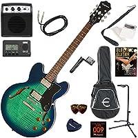 EPIPHONE エレキギター 初心者 入門 ギブソンES-335のエピフォン版 ミニアンプが入ったお手軽13点セット Dot Deluxe/AM(アクアマリン)