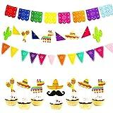 BESTOYARD 3個 バナー ガーランド 誕生日 ケーキトッパー8本 ケーキデコレーション 可愛い パーティー用品 メキシコ飾り付け