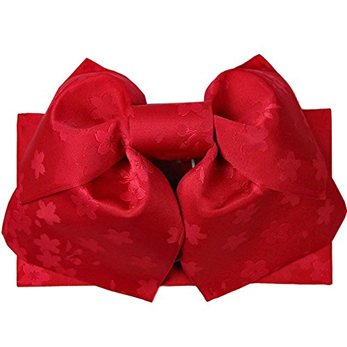 (キョウエツ) KYOETSU 作り帯 結び帯 浴衣帯 ワンタッチ 柄お任せ (赤系)