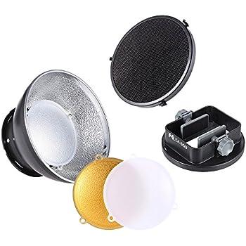 Andoer 3-in-1 スピードライト アクセサリー キット 汎用マウント アダプタ+ ビューティー ディッシュ + ハニカム グリッド 付き Nikon Canon Sony Yongnuo Godox Sigma用