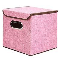 収納ラック ポータブル綿の衣類収納ボックス収納ボックスステンレス製の事務用品、ファイルストレージボックス デスクブックシェルフ (色 : ピンク, サイズ : L(45*30*30cm))
