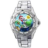 ファッションメンズ時計pe23Super Mario Galaxy Yoshi And Marioイエロー星ステンレススチール腕時計