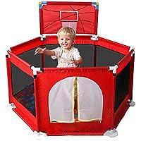 HUO 赤赤ちゃん遊び場6面赤ちゃんゲームフェンス子供安全ガードレールバッフル 省スペース (色 : Red)
