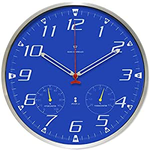 ottostyle.jp 電波掛け時計 掛時計 【ブルー/青】 温度計/湿度計付き アラビア数字 アルミフレーム 見やすいシンプルな文字盤 連続秒針 サイレントムーブ 電波時計