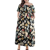 Nemidor Women's Floral Print Off Shoulder Summer Casual Plus Size Maxi Dress Pocket