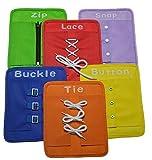 幼児のための就学前教育玩具は、初期の学習基本ライフスキルボードをドレスすることを学びます - ジッパー、スナップ、ボタン、バックル、 レース&ネクタイ 6個/セット