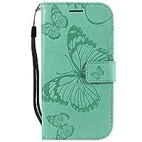 OMATENTI Galaxy S4 手帳型 ケース, 良質 高級感PUレザー カード収納ホルダー付きストラップ付き 落下防止 全面保護 衝撃吸収 保護カバー エンボス蝶柄, 緑