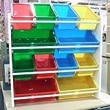 木製トイラック おもちゃ箱 12個のプラスチックケース付