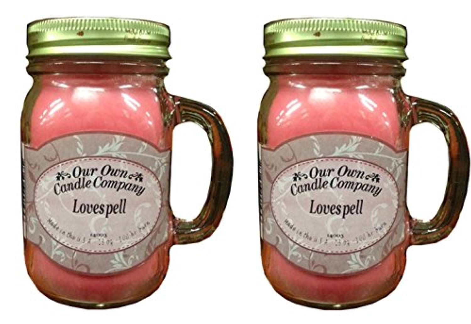 Lovespell 13oz 2 - Pack香り大豆ブレンドキャンドルin Mason Jars Made by Our Own Candle Co in usa-100 HR BURN時間あたりCandle