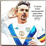 ロベルト・バッジョ ブレシア・カルチョ 海外製 サッカーグラフィックアートパネル 木製ポスター インテリア