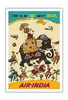 エア?インディア - インドについての空気がある - ハウガのマハラジャ(馬車)、リーガルのゾウ - ビンテージな航空会社のポスター c.1965 - アートポスター - 76cm x 112cm