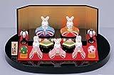 雛人形 コンパクト 陶器 小さい 可愛い ひな人形/錦彩平飾り兎雛/ミニチュア 初節句 お雛様 おひな様 雛飾り