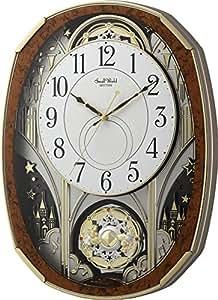リズム時計 電波掛け時計 スモールワールドノエルM からくり時計 木目 4MN513RH23