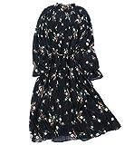 (レコーン) Lecoon レディース ワンピース 立ち襟 花柄 体型カバー 春夏秋 シフォン リボンベルト 裏地付き ロングスカート プリーツ 長袖 通勤 お出掛け 上品